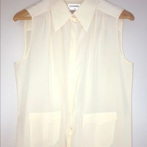 Vintage CHANEL front pocket silk Sleeveless blouse